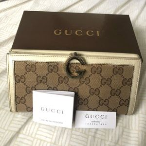 Authentic Gucci Canvas Continental Wallet 212113
